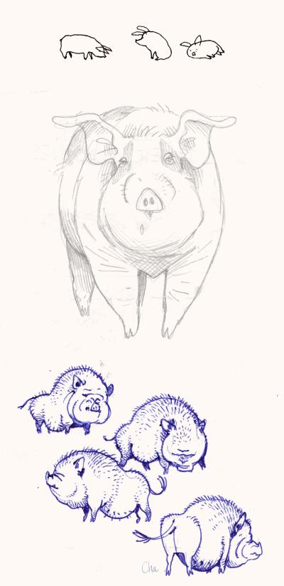Roupette et des cochons vietnamiens