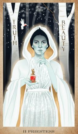 Emily Dickinson as the High Priestess in the American Renaissance Tarot.
