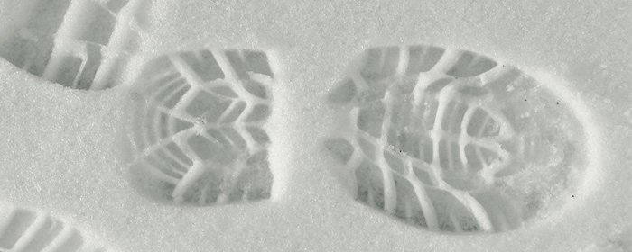 Trace pied neige