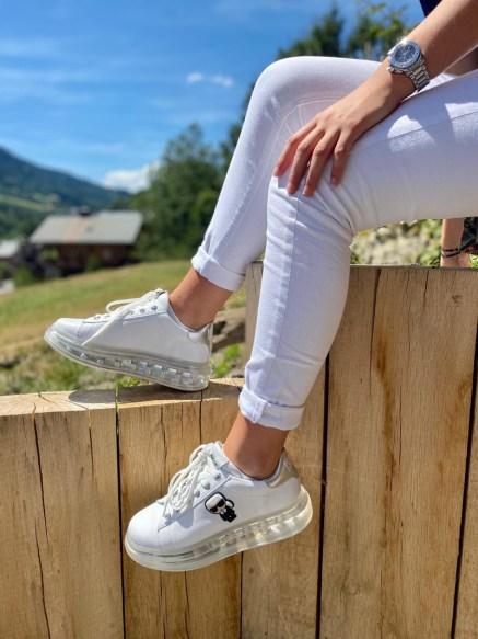 baskets blanche à plateforme karl lagerfeld
