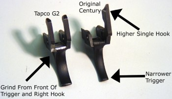 Two firearm triggers in side by side comparrison