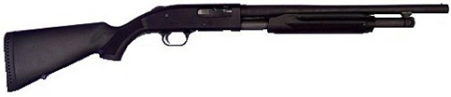 Black Mossberg 500 Shotgun, pointed to the right on a white background