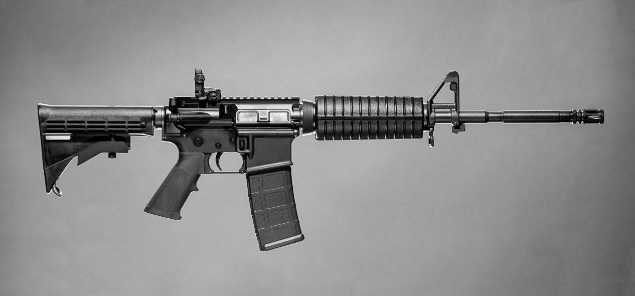 AR-15 on gray background