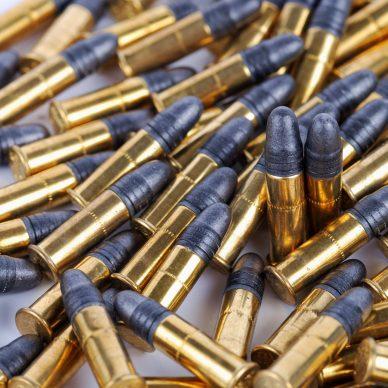 huge number of ammunition bullets. 22 LR (long rifle) in disorder