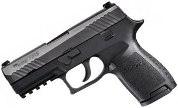 Picture shows a black SIG Sauer P320 9mm pistol.
