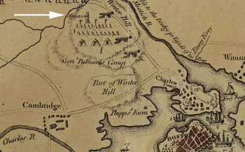 "The Powder House is located near the northern edge of this detail from a 1775 map of the Siege of Boston. It's called a ""Magazine."" Image courtesy of the the Tenth Amendment Center."