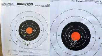 two targets showing different group sizes