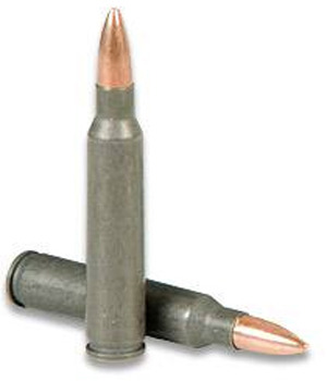 Picture shows a steel-cased .223 Remington round.