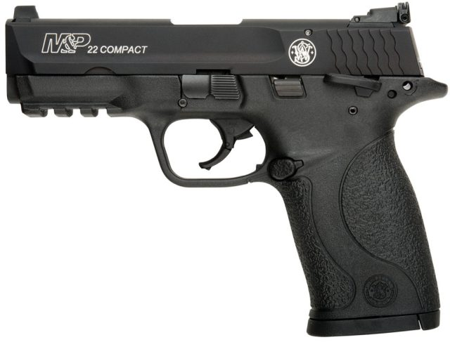 Picture shows a black .22 Long Rifle pistol made by Smith & Wesson.