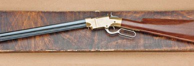 Antique firearm, the 1854 Volcanic, on a aged piece of wood