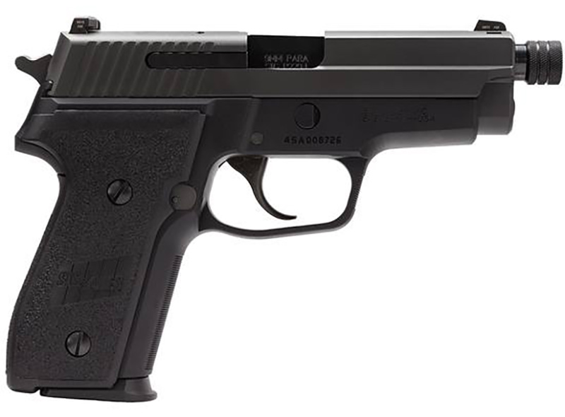 Picture shows a black, compact handgun made by SIG Sauer with a threaded barrel for a suppressor, chambered in 9mm.