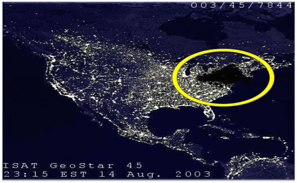 A map of the August 2003 blackout.