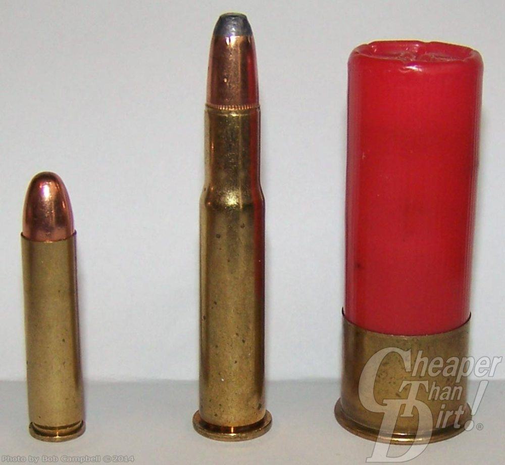 .30 carbine cartridge on the left and 12-gauge ammo on the right on a light gray background