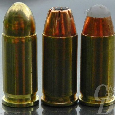 Three .32 ACP cartridges: Left to right- Fiocchi FMJ, Hornady XTP and Cor Bon PowRBall.