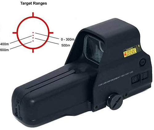 Black Eotech 557.AR223 HWS Rifle Sight with illustrated diagram showing target acquisition on a white background