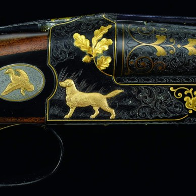 """Winchester Model 21 """"Grand Royal"""" with extra barrels and case."""