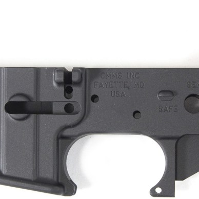 Picture shows a black, stripped lower receiver (the firing part) of an AR-15.