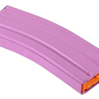 Picture shows an aluminum 30-round pink AR-15 magazine.