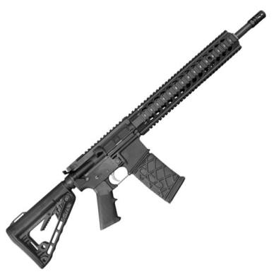 Picture shows a black AR-15 made by MMC Armory.