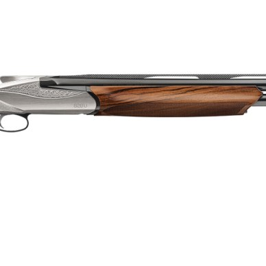 Wood stock over/under shotgun made by Benelli with nickel-engraved receiver