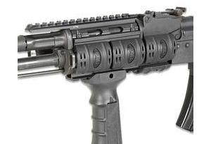 Black UTG Quad Rail for Romanian WASR AK Rifles on a white background
