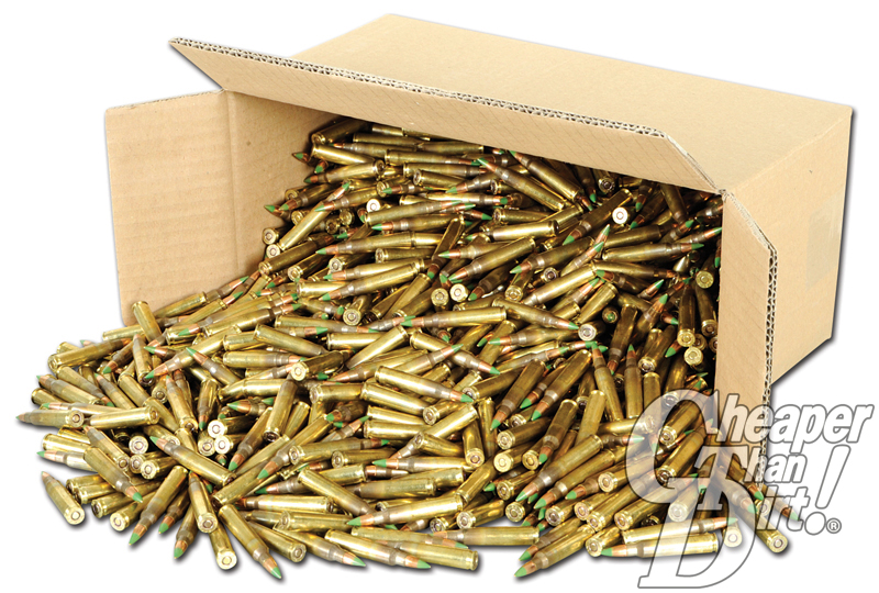 cardboard box with bullets spilling out