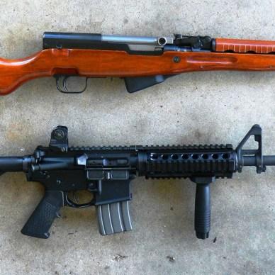 SKS rifle top, AR-15 rifle bottom