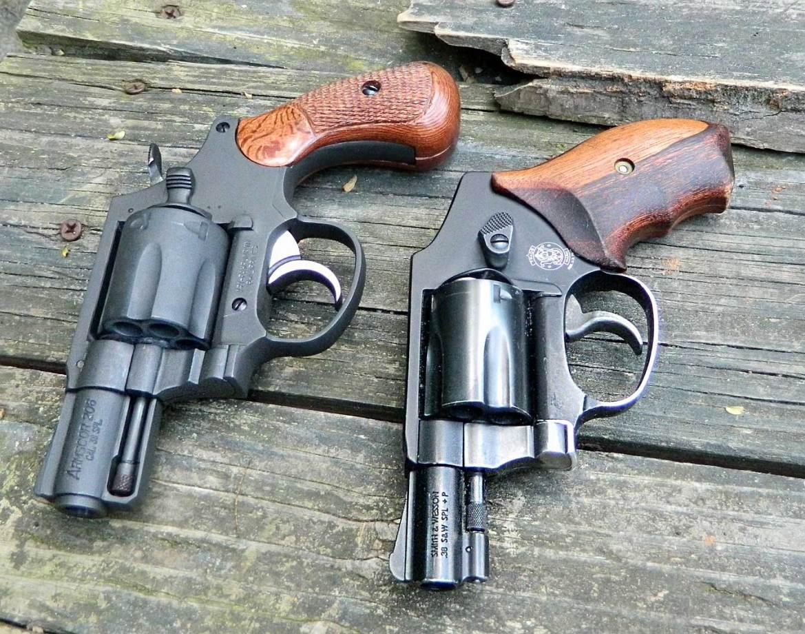 Armscor M206 revolver left, Smith and Wesson 442 revolver right