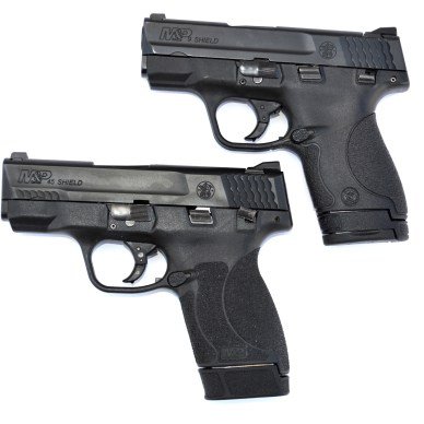 Smith and Wesson Shield 9mm top vs. .45 ACP bottom
