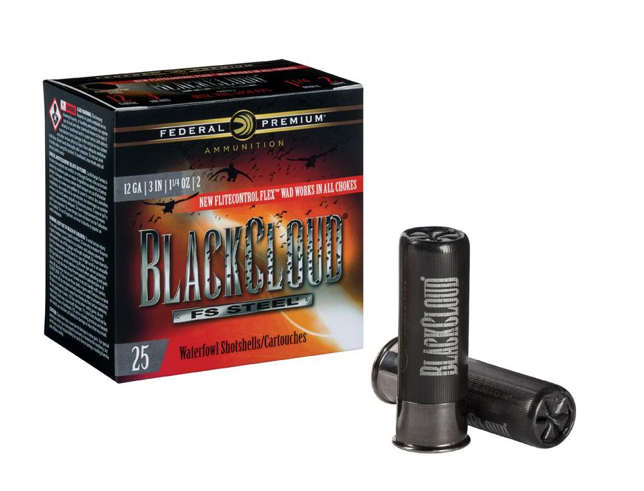 Red and black box of federal BlackCloud Shotgun shells.