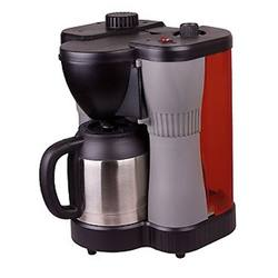 Picture shows a gray, black and red coffee maker powered by propane.