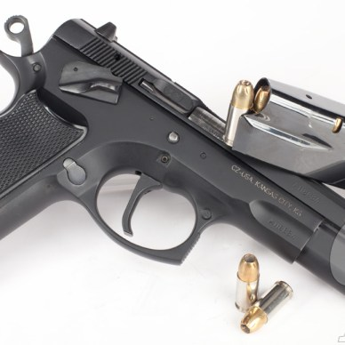 Picture shows a black, steel CZ 75 9mm pistol.