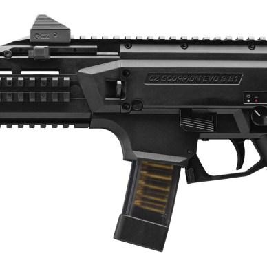 Black, polymer framed CZ Scorpion EVO 3 9mm pistol