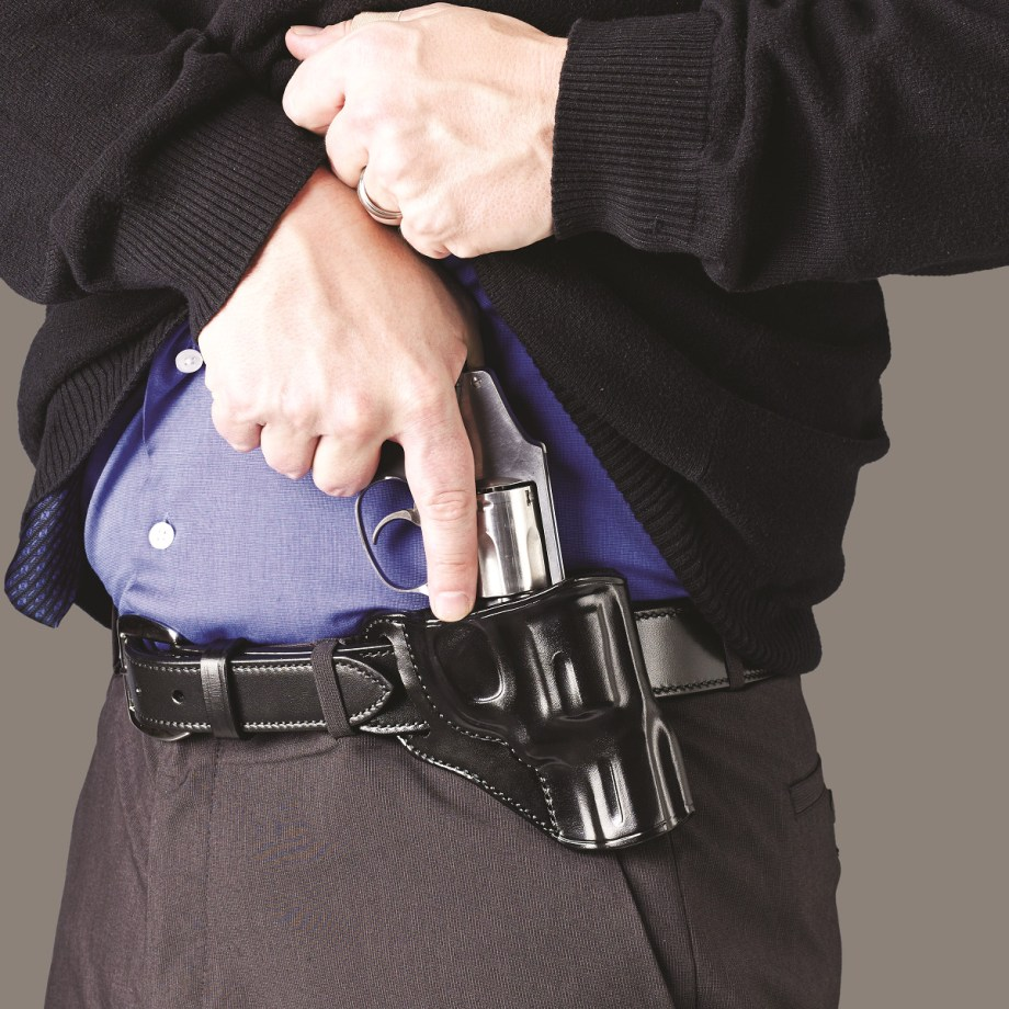 Galco Hornet holster with a snub nose .38 revolver being drawn