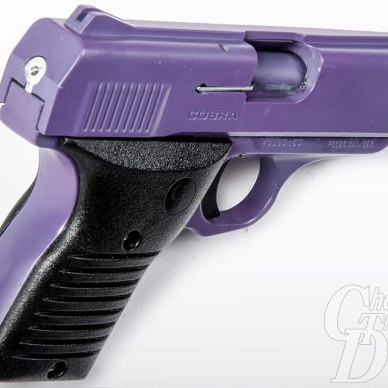 Picture shows the details of basic, fixed purple sights on a purple and black handgun.