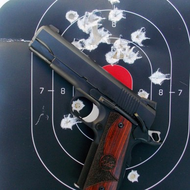 Dan Wesson Guardian pistol on a used target