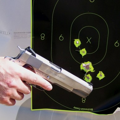 Springfield Armory 1911 with a Shoot-n-See target