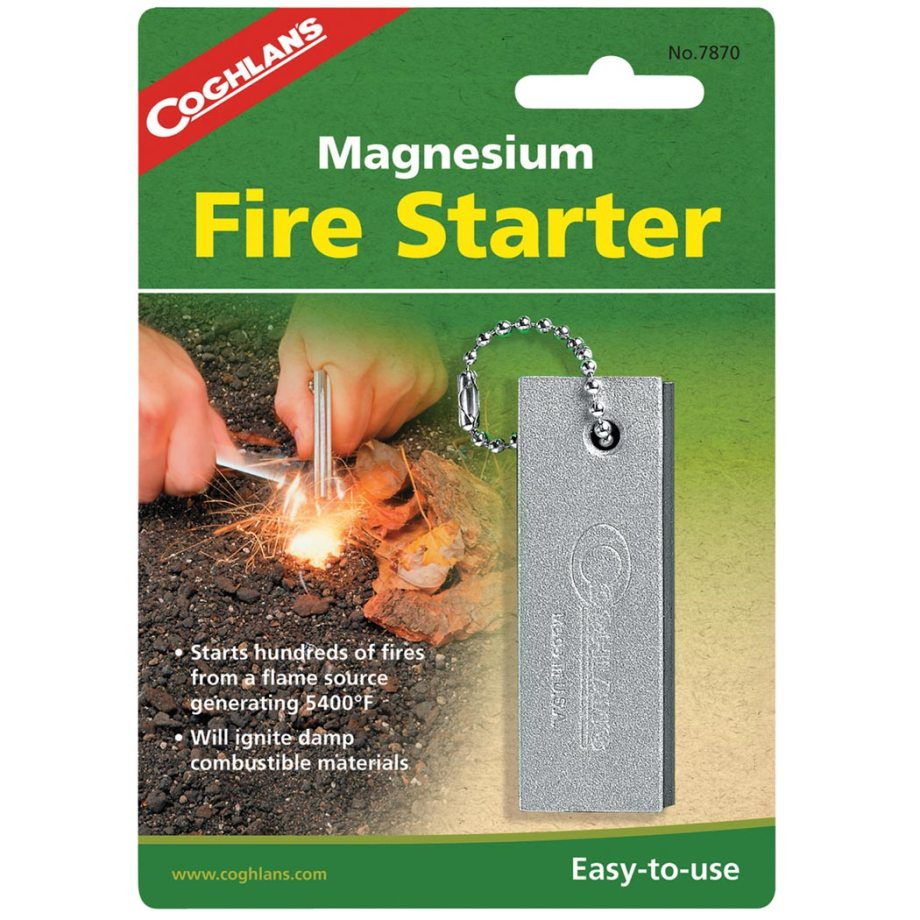 Green package with fire and yellow lettering and a silver image of a magnesium stick