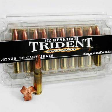 G2 Research 7.62x39 Ripout Round packaging and expended bullet