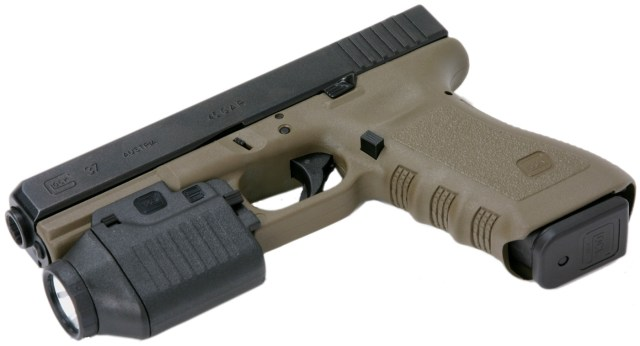 Taupe GLOCK 37 with a GLOCK Combat light, barrel pointed to the left on a white background