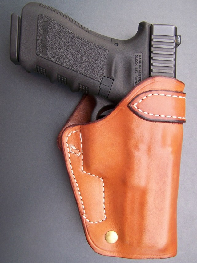 GLOCK 37 in bright tan Ted Blocker Cross-Draw holster