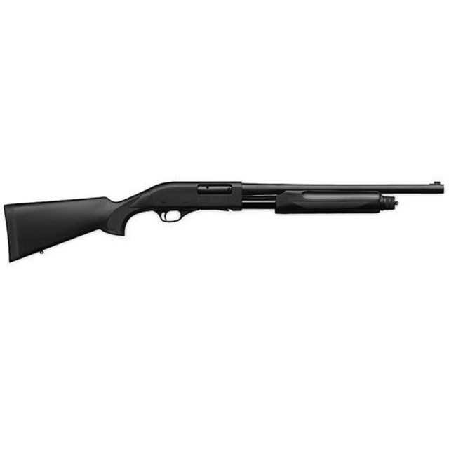 Black synthetic pump-action 20 gauge shotgun from Weatherby