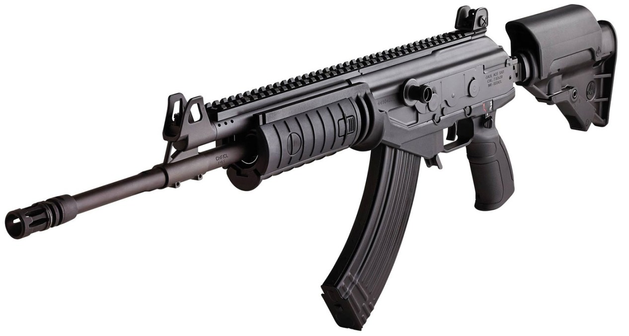 Black Galil ACE rifle with adjustable, side-folding stock and Pictainny rails