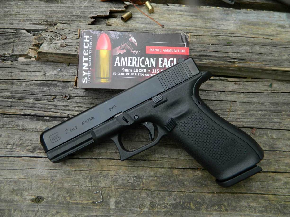 Glock G17 Gen 5 pistol with American Eagle ammunition box