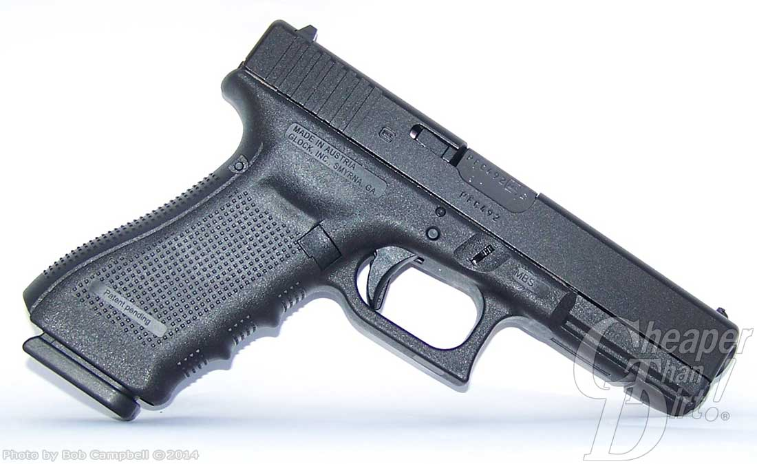 Gun Deals. Glock 17 Gen 4 barrel pointed down and to the right on a white background.