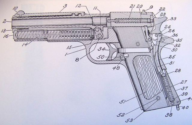 Black and white diagram of a firearm with numbered callouts.