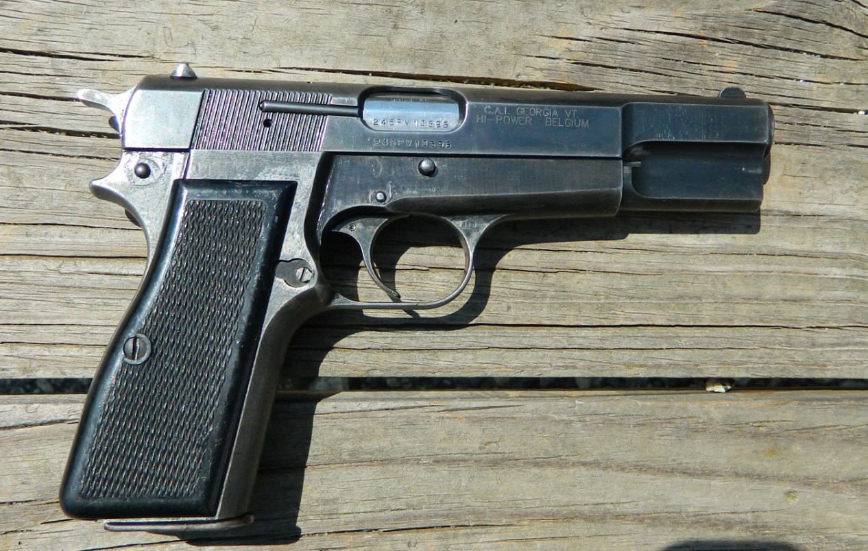 Browning Israeli Hi-Power pistol right profile