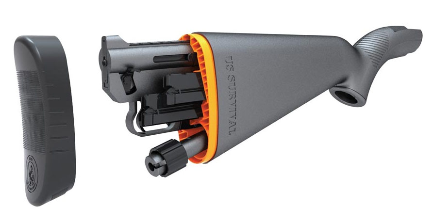 Henry Survival rifle packed in the buttstock