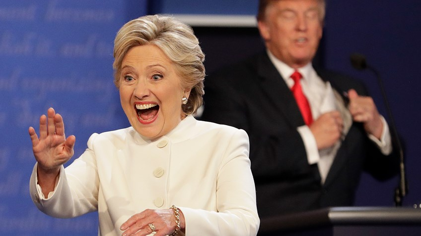 Hillary Clinton on the debate stage