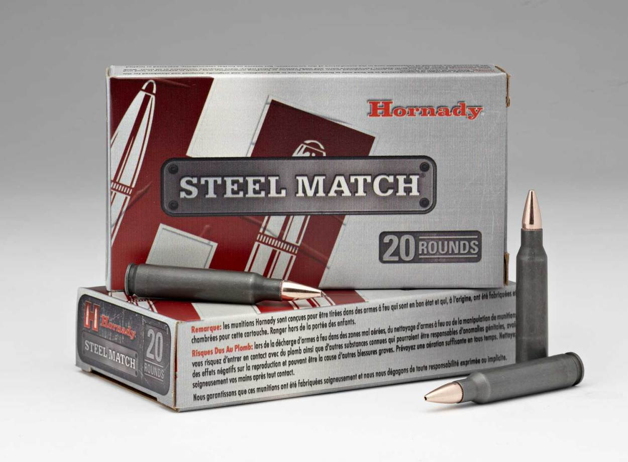 two boxes of Hornady Steel Match ammunition